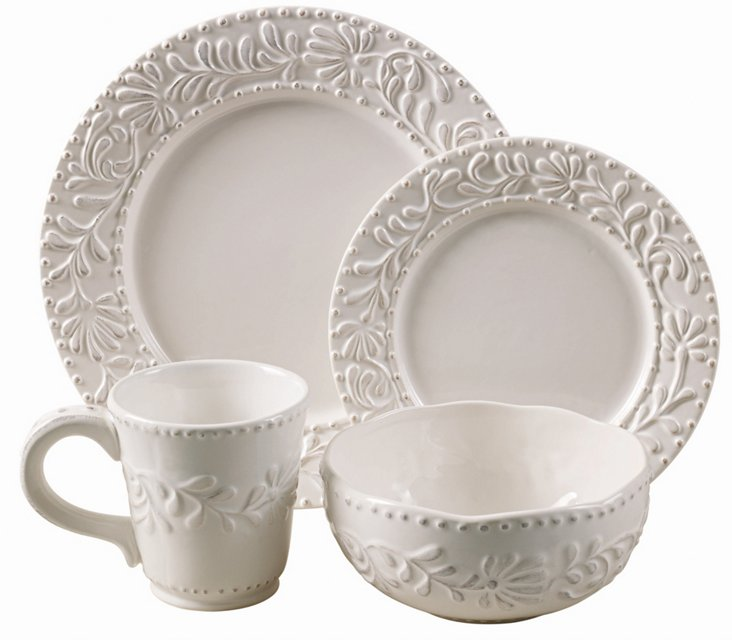 16-Pc Bianca Leaf Dinnerware Set, White