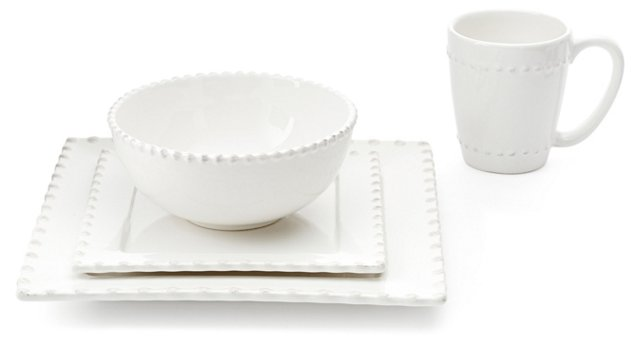 16-Pc Bianca Bead Square Dinnerware Set