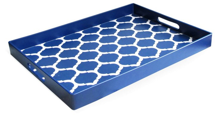"19"" Garden Lattice Tray, Blue"