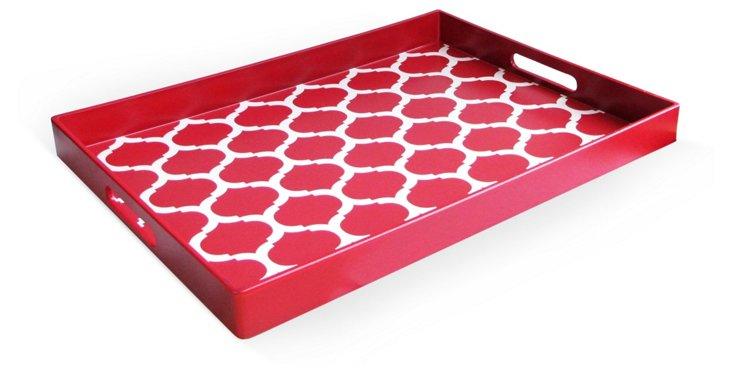 Garden Lattice Tray, Red