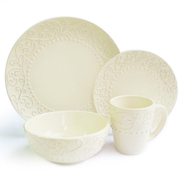 16-Pc Bianca Dinnerware Set, Cream