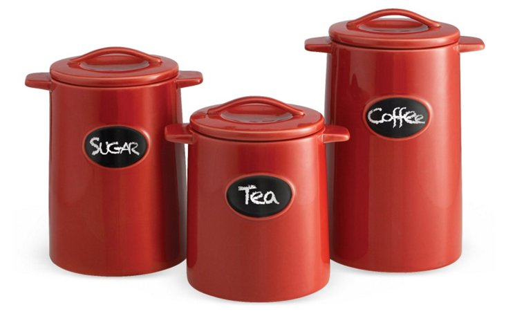 S/3 Chalkboard Canisters, Red
