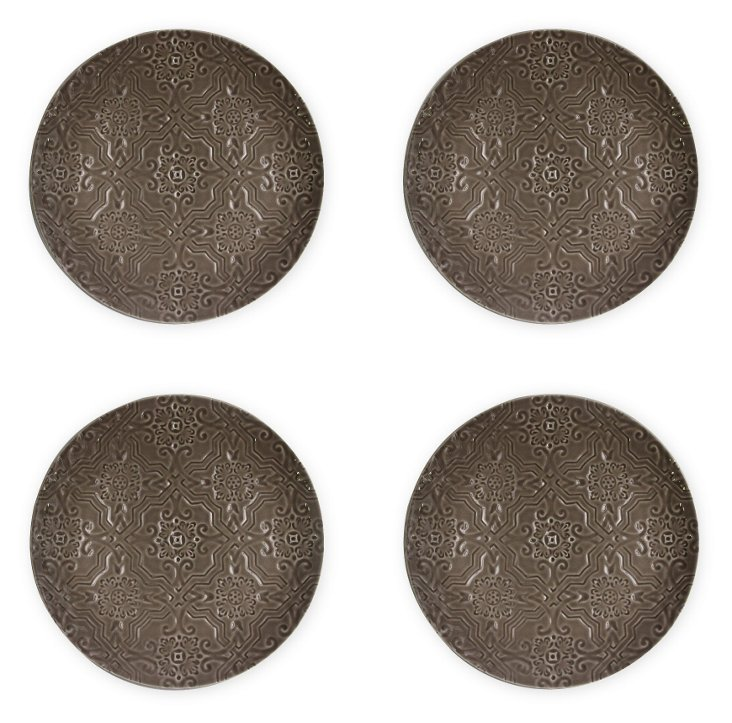 S/4 Labrinto Dinner Plates, Brown