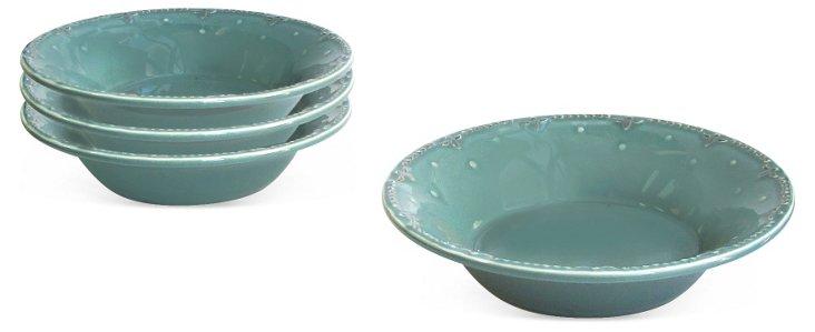 S/4 Genevieve Soup Bowls, Blue