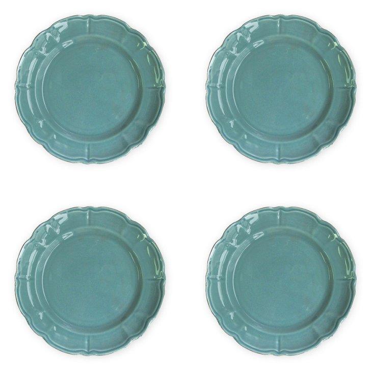 S/4 Italia Scallop Dinner Plates, Blue