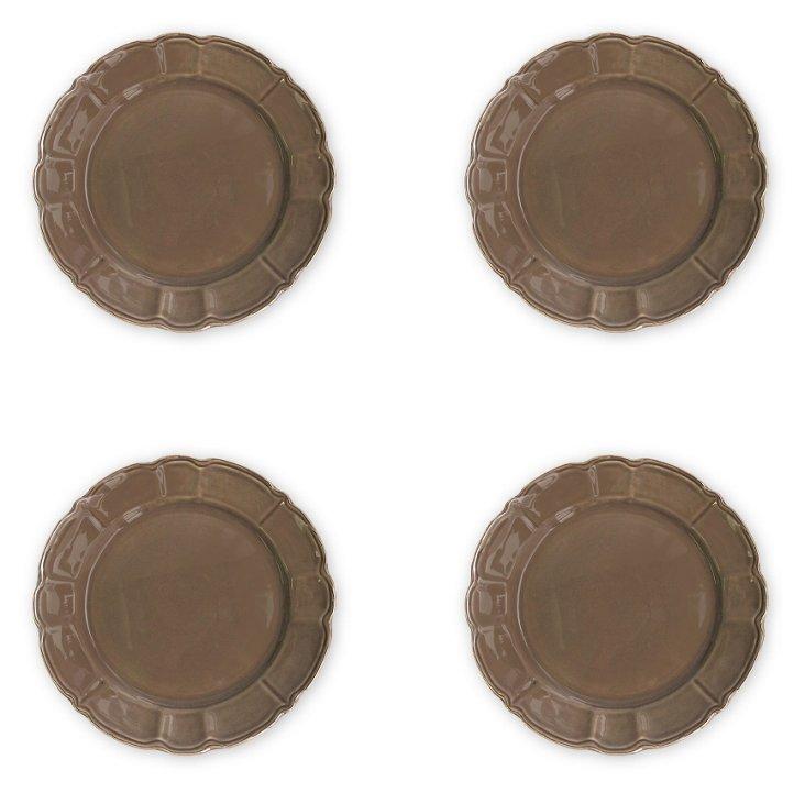 S/4 Italia Scallop Salad Plates, Brown