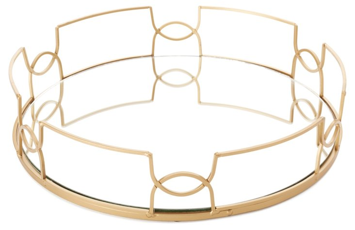"15"" Mirror Tray, Gold"
