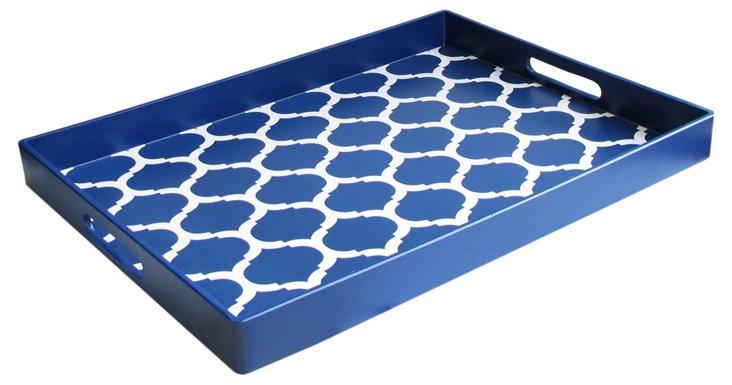"19"" Garden Lattice Tray, Blue"