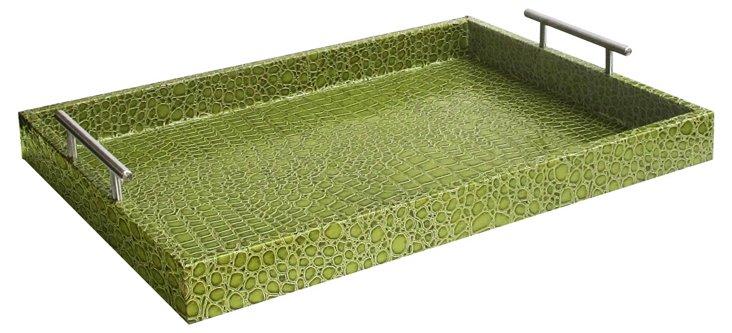 """19"""" Alligator Tray w/ Handles, Green"""