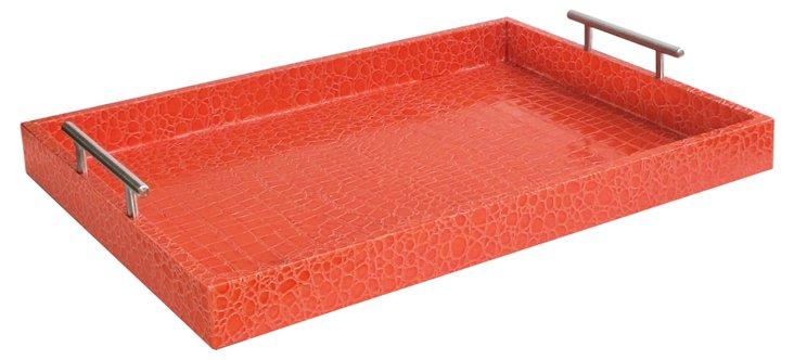 "19"" Alligator Tray w/ Handles, Orange"