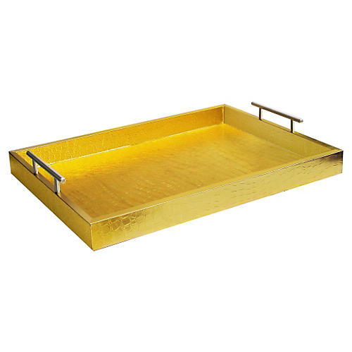 "19"" Alligator Tray w/ Handles, Gold"