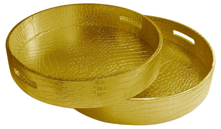 Asst. of 2 Crocodile Trays, Gold