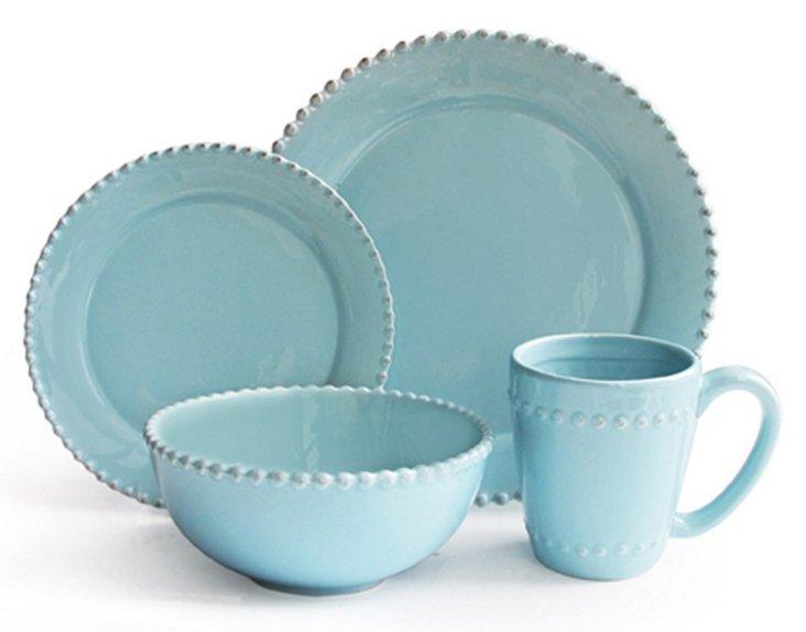 16-Pc Bianca Bead Dinnerware Set, Azul