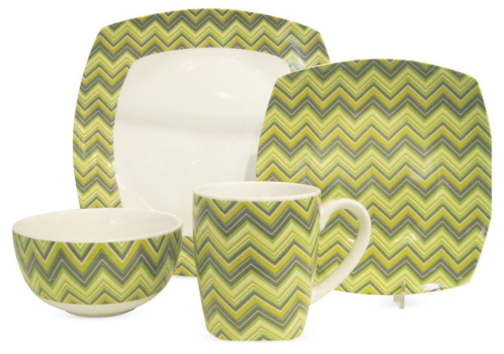 Porcelain Zig-Zag Dinnerware Set, Green