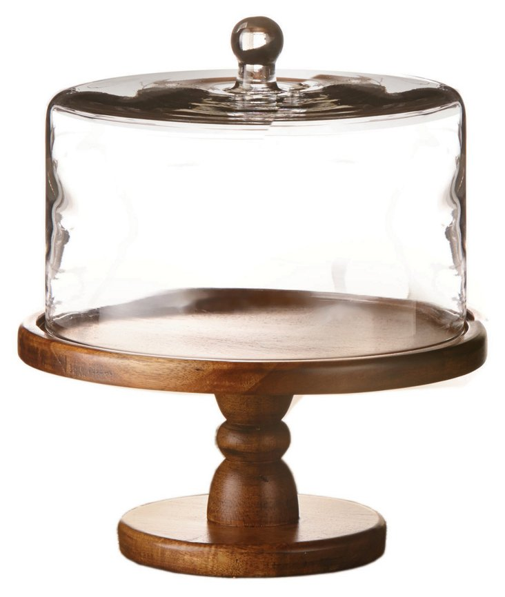Wood & Glass Pedestal Plate w/ Dome