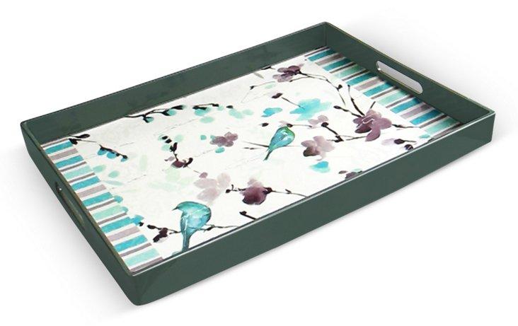 "19"" Bird Scene Tray, Blue/Green"