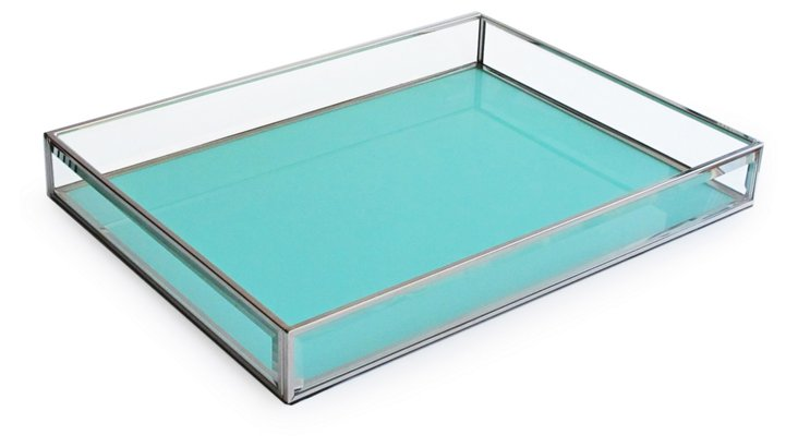 "16"" Glass Tray, Teal"