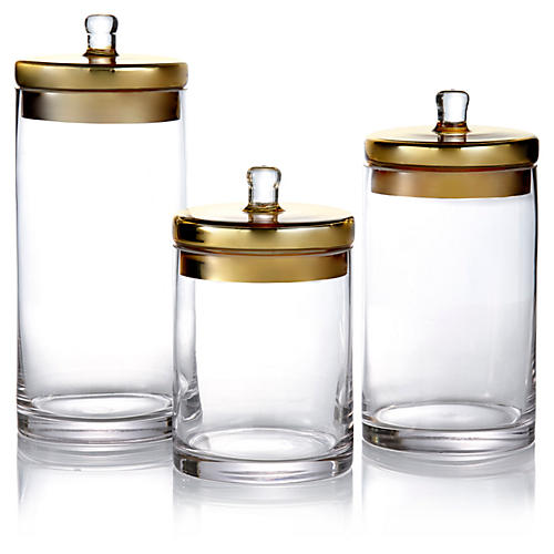 S/3 Glass Canisters w/Gold Lids
