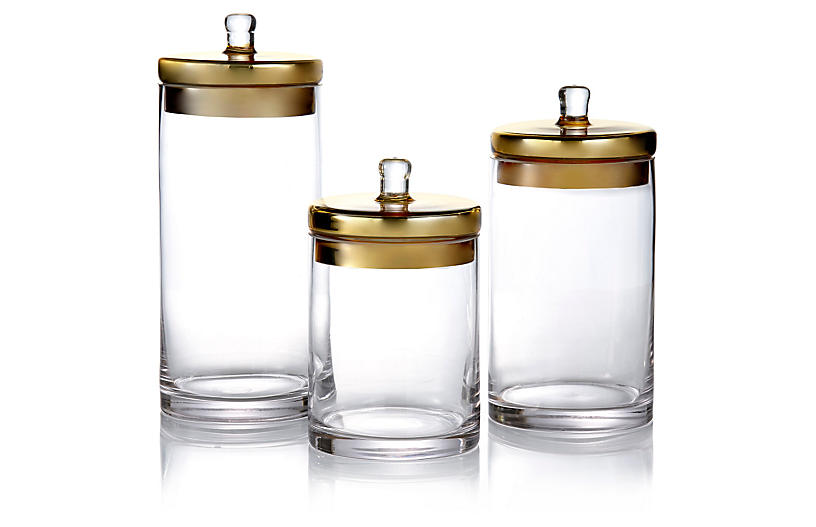 Set of 3 Glass Canisters w/Gold Lids