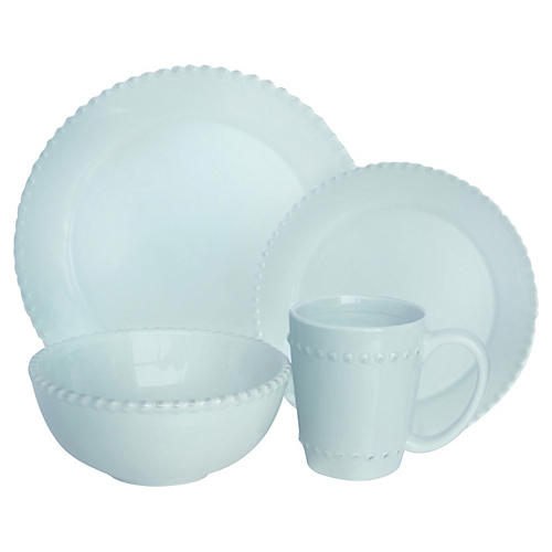 16-Pc Bianca Bead Dinnerware Set, Blue