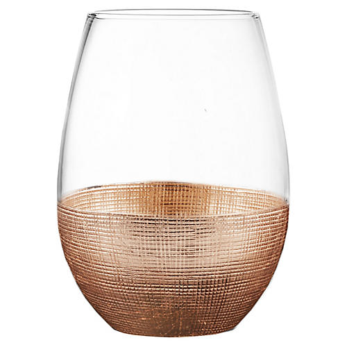 S/4 Stemless Glasses, Linen Copper