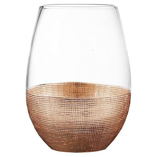 S/4 Stemless Glasses, Linen Copper