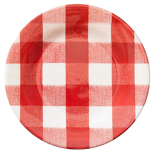 S/4 Gingham Melamine Salad Plates, Red/White