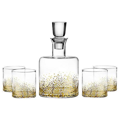 Asst. of 5 Luster Decanter Set, Gold