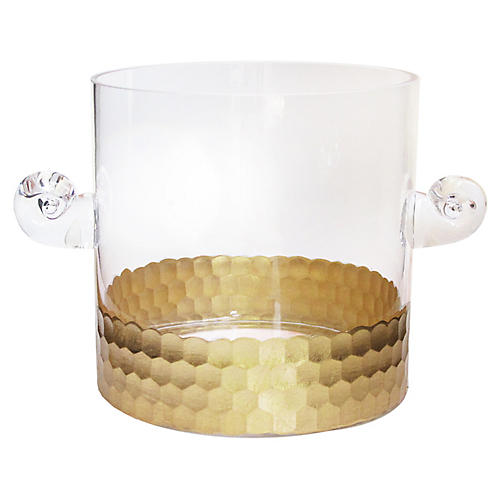Daphne Ice Bucket, Clear/Gold