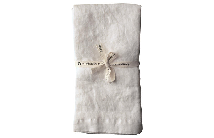 S/4 Washed Dinner Napkins, Pearl
