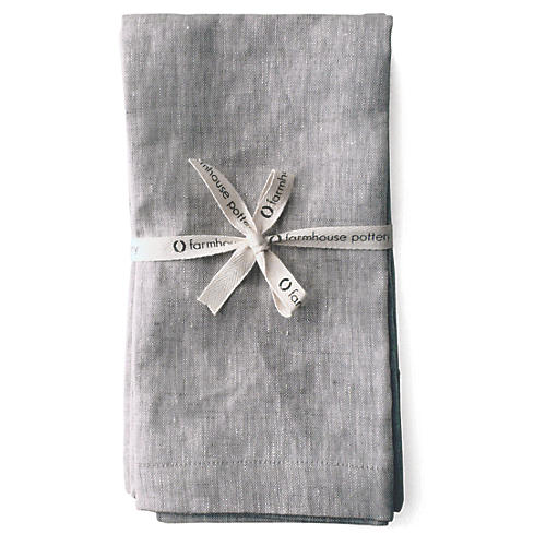 S/4 Washed Dinner Napkins, Light Gray