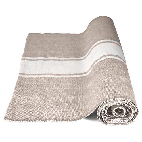 Handloom Table Runner, White/Natural