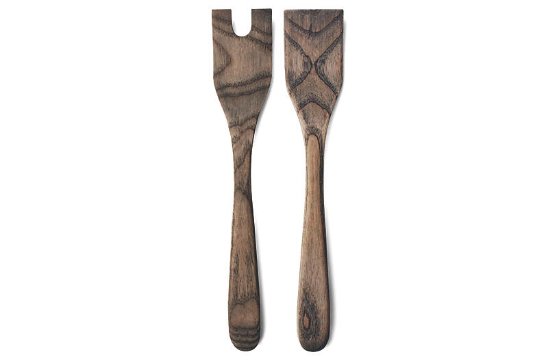 S/2 Crafted Salad Servers, Gray/Natural