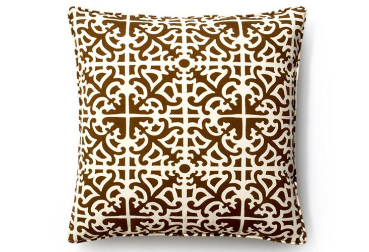 Malibu 20x20 Outdoor Pillow, Brown/Cream