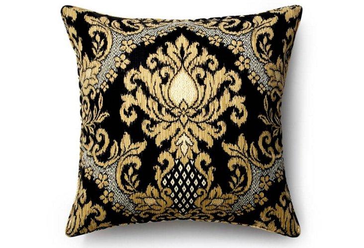 Ikat 26x26 Outdoor Pillow, Ebony/Gold