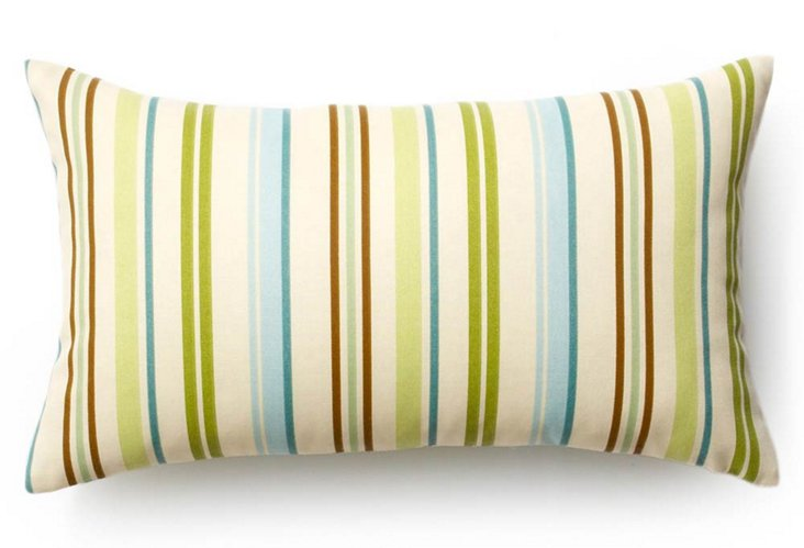 Stripes 12x20 Outdoor Pillow, Aqua