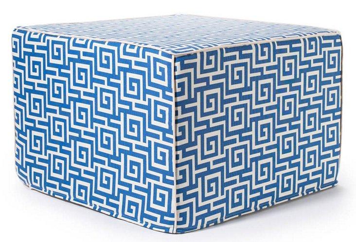 Puzzle Outdoor Pouf, Blue/White