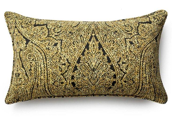 Paisley 12x20 Outdoor Pillow, Ebony