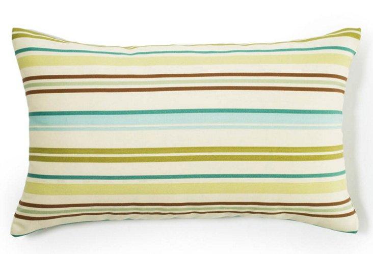 Stripes 12x20 Outdoor Pillow, Aqua