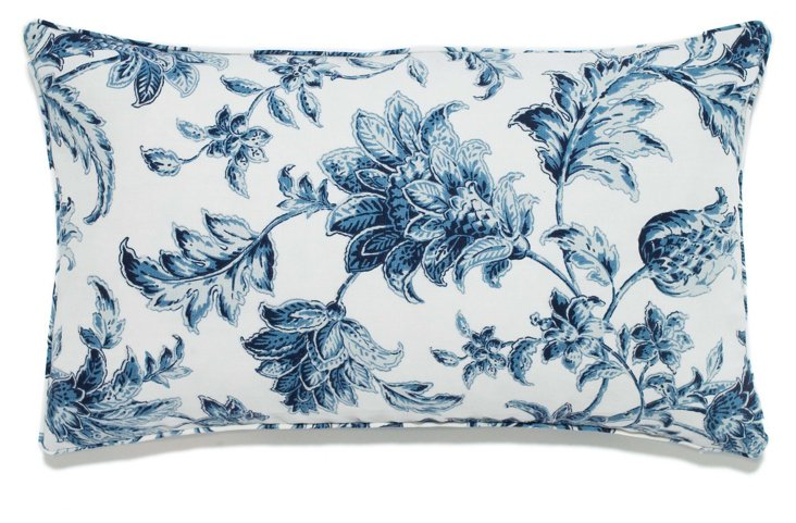Floral 12x20 Outdoor Pillow, Blue/White