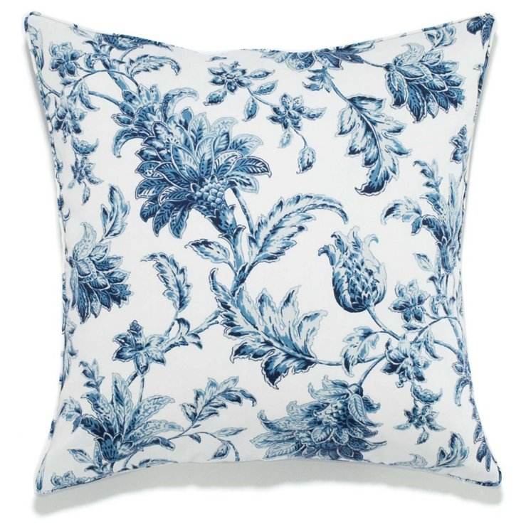 Floral 20x20 Pillow, Blue/White