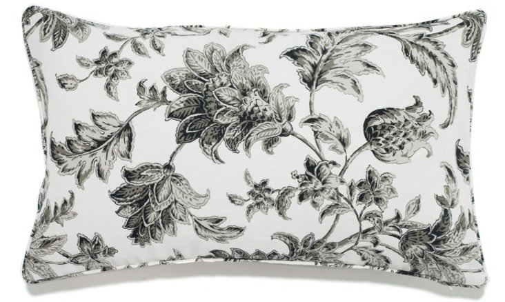 Floral 12x20 Pillow, Charcoal