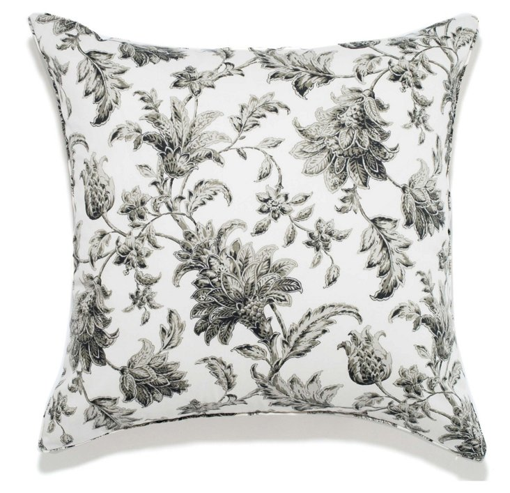 Floral 24x24 Outdoor Pillow, Charcoal