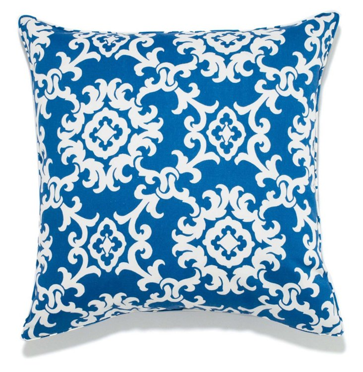 Lattice 24x24 Outdoor Pillow, Blue