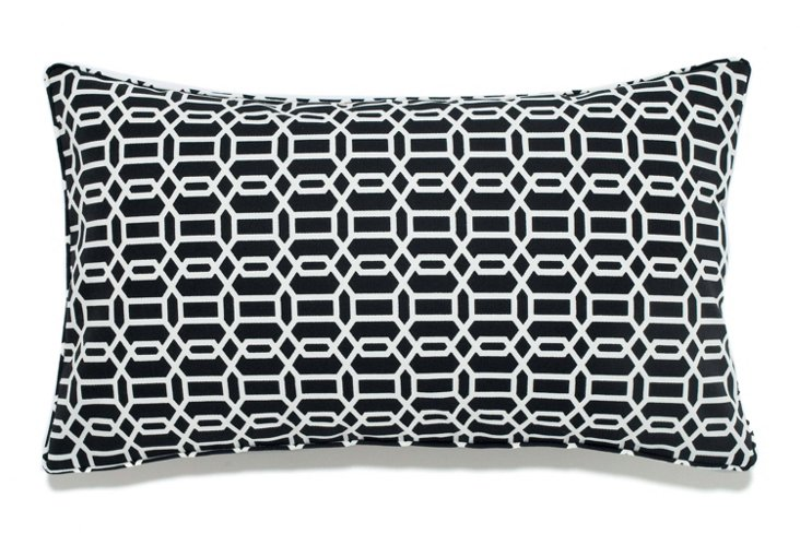 Jiti 12x20 Mosaic Outdoor Pillow, Black