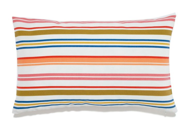 Stripes 12x20 Outdoor Pillow, White