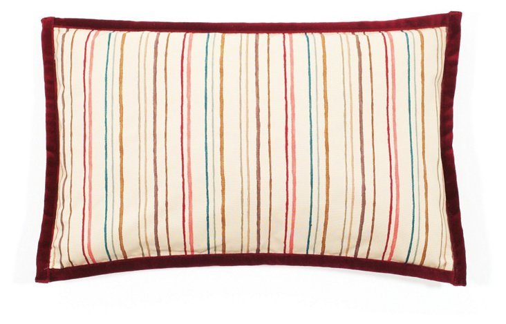Alita Stripes 12x20 Pillow, Rose