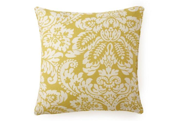 Hibiscus 20x20 Cotton Pillow, Yellow