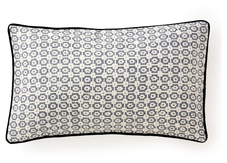 Diana 12x20 Cotton Pillow, Pewter