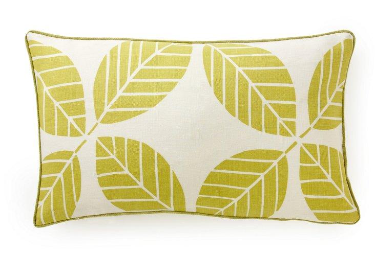 "Tiki Leaves 12"" x 20"" Pillow, Lemon"